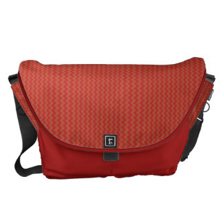 Large Courier Bag - Red Chevron Pattern