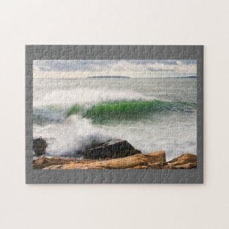 Large Crashing Waves Seascape Acadia National Park Jigsaw Puzzle