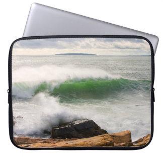 Large Crashing Waves Seascape Acadia National Park Laptop Sleeve