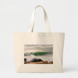 Large Crashing Waves Seascape Acadia National Park Large Tote Bag