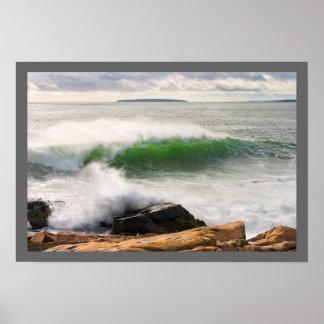 Large Crashing Waves Seascape Acadia National Park Poster