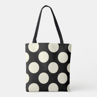 Large cream polka dots circles on black tote bag