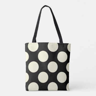 Beach Themed Large cream polka dots circles on black tote bag