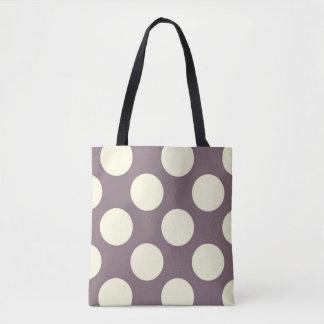 Large cream polka dots circles on purple tote bag