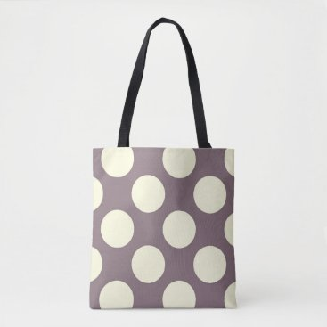 Beach Themed Large cream polka dots circles on purple tote bag