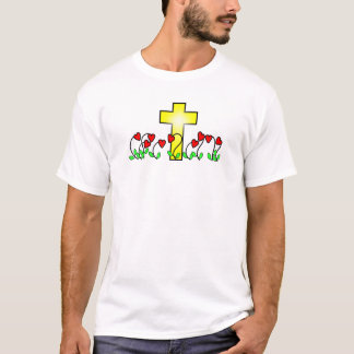large cross and nine heart shaped flowers t-shirt