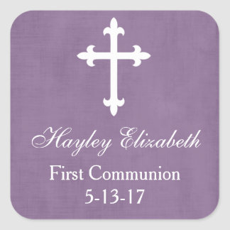 Large Cross Favor Tag, Purple Square Sticker