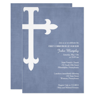 Large Cross First Communion Invitation, Blue Card