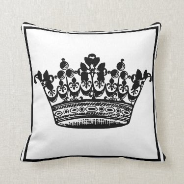 Large Crown in Regal Black and White Pillow