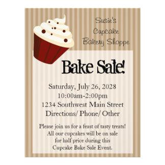 Large Cupcake, Soft Mocha Stripes Bake Sale Flyers