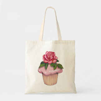 Large Cupcake with Pink Icing and Rose Flower, Art Tote Bag