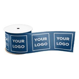 Large Custom Business Company Logo Pattern Blue Satin Ribbon