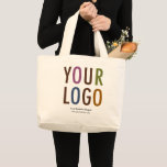 "Large Custom Cotton Tote Bag with Logo No Minimum<br><div class=""desc"">Easily personalize this large cotton tote bag with your own company logo and promotional text. Custom branded tote bags can advertise your business as corporate swag and trade show giveaways. Available in other colors. No minimum order quantity and no setup fee.</div>"
