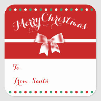 Large Custom Red Square Christmas Gift Tags Bow Square Sticker