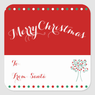 Large Custom Square Christmas Tree Gift Tags Matte Square Sticker