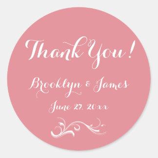 Large Custom Thank You Pink White Wedding Stickers Round Sticker