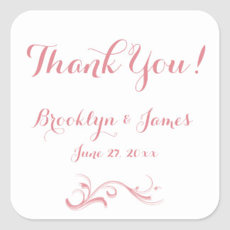 Large Custom Thank You White Pink Wedding Stickers Square Sticker