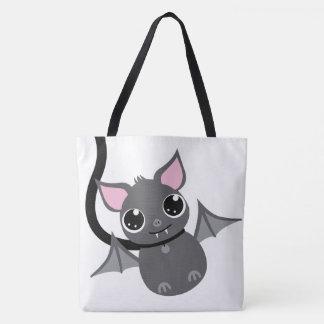 Large - Cute Clever Pet Bat On Leash Tote Bag