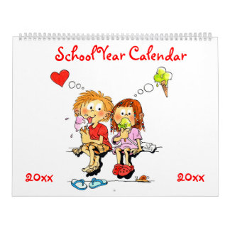 Large Cute Red School Year Calendar For Kids