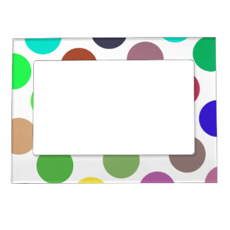 Large Cyan And Blue Dots Frame Magnets
