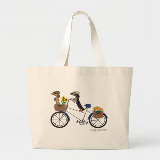 Large Dachshund Tote Bag-on Bicycle by Sudachan