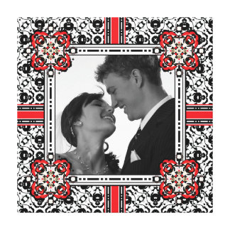 Large Damask Frame for Elegant Wedding Photo Canvas Print