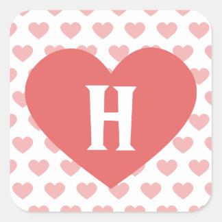 Large Dark Pink Heart - Monogram Square Sticker