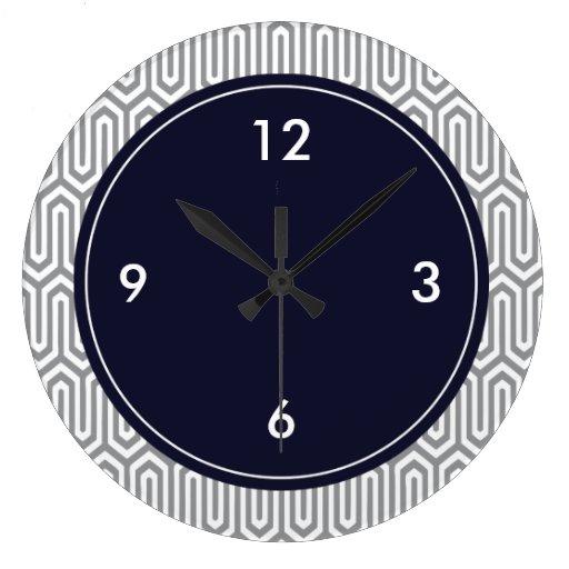 Large Decorative Wall Clock Abstract Pattern Zazzle