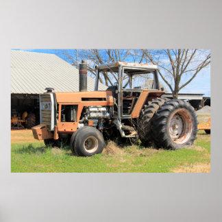 Large Decrepit Old Tractor Sitting Poster