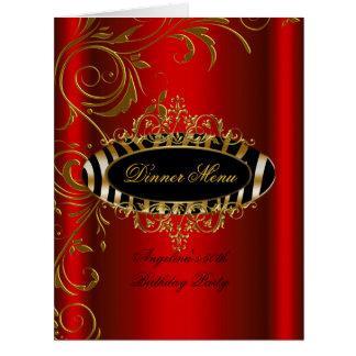 Large Dinner Menu Table Red Gold Zebra Black Card