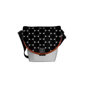 Large dots mini messenger bag - black/white