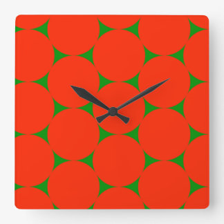 Large dots wall clock - red on green