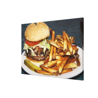 large double half pound burger fries and cola canvas print