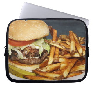 large double half pound burger fries and cola computer sleeve