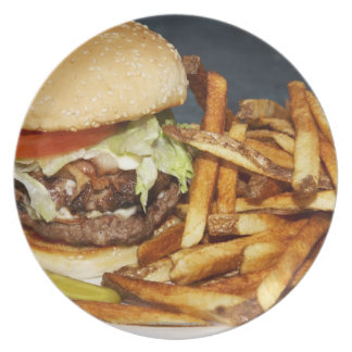 large double half pound burger fries and cola dinner plate