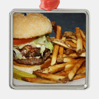 large double half pound burger fries and cola metal ornament