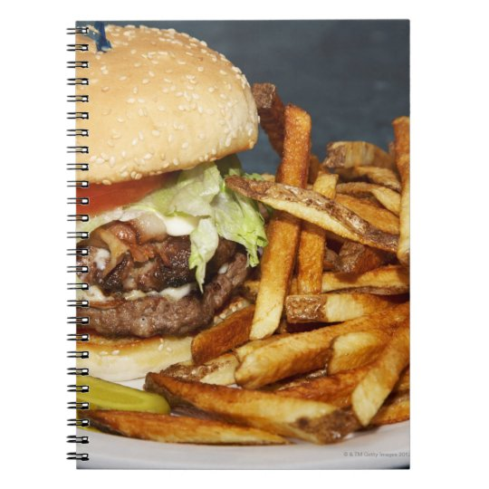large double half pound burger fries and cola notebook