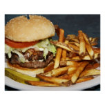 Large Double Half Pound Burger Fries and Cola Poster