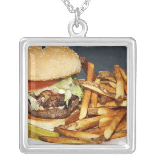 large double half pound burger fries and cola silver plated necklace