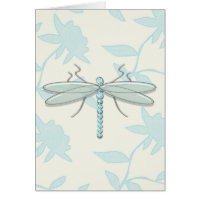 Large Dragonfly on Stamped Floral Background