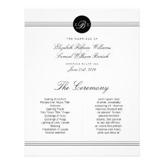 Large Elegant Black White Monogram Wedding Program