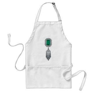 Large Emerald with black pearl tassel Adult Apron