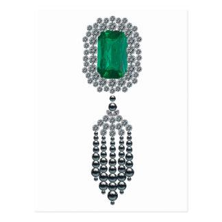 Large Emerald with black pearl tassel Postcard