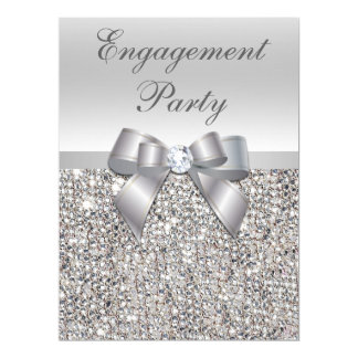 Large Engagement Party Faux Silver Sequins Bow Card