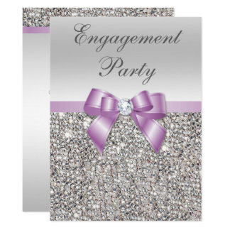 Large Engagement Party Silver Sequins Lilac Bow Card