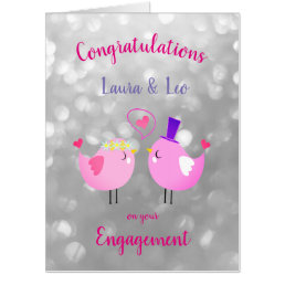 Large Engagement sparkly design Card