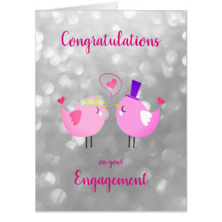 Large Engagement sparkly design Card