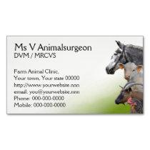 Large farm animals vet business card magnet