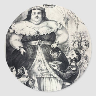 Large Fat Lady Classic Round Sticker