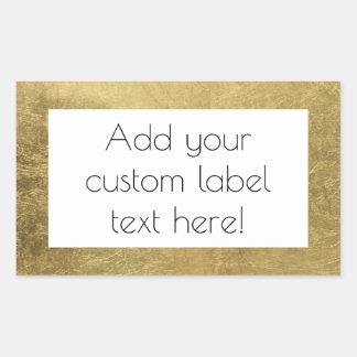 Large Faux Gold Leaf Custom Craft Favor Wedding Rectangular Sticker